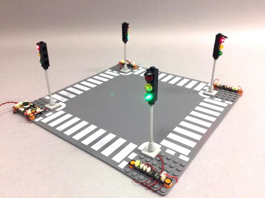 Deluxe 4 Way Led Traffic Light Intersection Kit